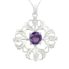 Scottish Thistle Silver Pendant with Amethyst colour stone 0725